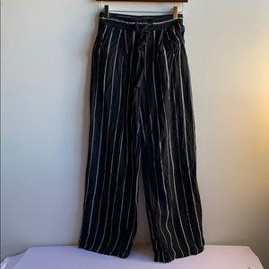 Black and White Linen Blend Palazzo Pants XS